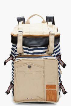 Diesel Striped Pop Eye Backpack for Men | SSENSE