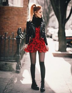 Gotta love the perfect little red dress Stylish Outfits, Cool Outfits, Girly Outfits, Mode Rock, Mode Grunge, Luanna, Little Red Dress, Looks Black, Aesthetic Fashion