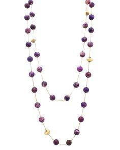 """18"""" Long Real Semi Precious Stone Necklace - EN1138-AMETHYST"""