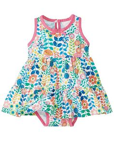 Supersoft little set slips on in a wink and keeps her breezy-cool and way cute in masses of little flowers all the day long. <br> • 100% combed cotton jersey<br>• Tiered skirt<br>• Front bow<br>• Back keyhole button<br>• Comes with a perfect-fit diaper cover <br>• Certified by Oeko-Tex Standard 100<br>• Prewashed<br>• Imported