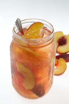 Peach Tea!    6 large sweet peaches  4 cups water  1 cup sugar  4 cups tea