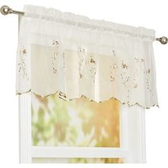 August Grove Sheer, floral, and sweet, this ruffled curtain valance makes a lovely addition to any window. Hang it in the powder room for a refined touch or use it to round out a feminine aesthetic in the kitchen. Balloon Curtains, Tier Curtains, Long Curtains, Cafe Curtains, Valance Curtains, Window Valances, Kitchen Curtain Sets, Kitchen Valances, Luxury Hotel Bathroom