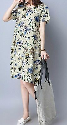 New women loose fit over size dress retro vintage flower tunic robe fashion chic