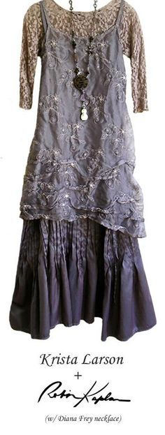 Krista Larson and Robin Kaplan - love the slip type gray dress with hand embroidery. So pretty.