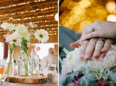 Vintage Rustic Wedding - flowers, centerpieces, wood rounds