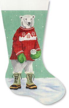 NEEDLEPOINT Handpainted CHRISTMAS Stocking Scott Church Polar Bear w Boots