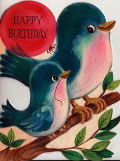 Vintage Happy Birthday Greetings Card by poshtottydesignz Birthday Greetings Friend, Happy Birthday Greeting Card, Happy Birthday Wishes, Happy Birthdays, Vintage Greeting Cards, Vintage Postcards, Vintage Images, Birthday Clips, Birthday Stuff