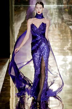 Georges Chakra Haute Couture Another inspired Lebanese designer. Georges Chakra, Couture Mode, Style Couture, Couture Fashion, Purple Fashion, Love Fashion, Mode Purple, Glamour, Gowns Of Elegance