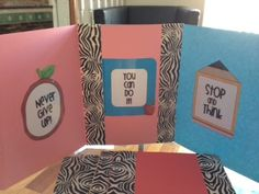 privacy / testing stations  - 2 folders stapled together. reinforced with decorative duct tape. Add nondistracting motivational signs.
