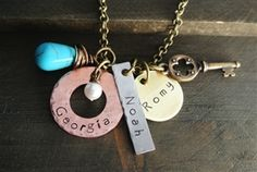 Hand Stamped Necklace, Rustic Charm, Washer Necklace, Brass, Charmed, Necklaces, Turquoise, Personalized Items, Jewelry
