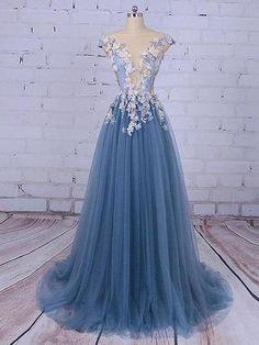 Beautiful Prom Dresses Scoop A-line Sweep/Brush Train Long Prom Dress/Evening Dress ,256