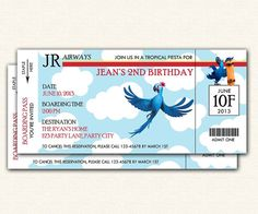 Rio Birthday Party Invitation Ticket - PRINTABLE Movie Invite for Boys and Girls
