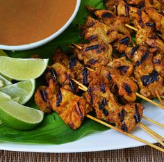 Chicken Satay with Peanut Dipping Sauce #recipe
