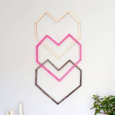 Geometric Heart DIY Wall Art--With Popsicle Sticks! geometric heart diy wall art with popsicle sticks, crafts, seasonal holiday decor, valentines day i Diy Wall Art, Diy Wall Decor, Diy Art, Chevron Wall Art, Room Decor, Diy Home Decor, Craft Stick Crafts, Decor Crafts, Diy Crafts