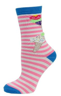 Ice Cream Social Trouser Socks Ladies Sock Color Pink and White Stripe -- Click image for more details.