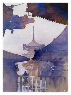 kiyomizu-dera ; kyoto japan thomas w schaller - watercolor