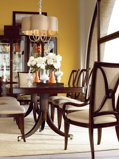 Studio 455 Dining Room featuring Double Pedestal Table - idea to add different chairs to table I have Dinner Tables Furniture, Classic Dining Room Furniture, Dining Room Design, Dining Rooms, Dining Tables, Fine Dining, Thomasville Furniture, Paint Colors For Living Room, Room Paint