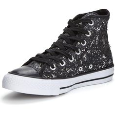 Converse Chuck Taylor All Star Distressed Sequins Hi ($86) ❤ liked on Polyvore featuring shoes, sneakers, hi tops, converse high tops, vintage sneakers, converse sneakers and canvas sneakers