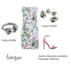 Battiquore Milano | Matrimonio in vista? Non sapete cosa indossare? #lookoftheweek Un vestitino floreale impreziosito dagli accessori giusti e andate sul sicuro! Gioielli Diamonds Collection http://www.battiquore.it/shop/it/diamonds-collection-by-battiquore/115-dge85.html