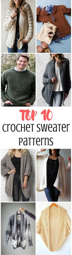 Roundup of all the best crochet sweater patterns online! These are a mixed of paid and free crochet patterns, patterns for men and women, and different skill levels. There's something for everyone!