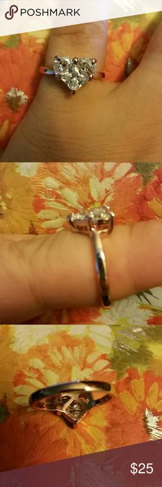 Austrian Crystal Heart Rose Gold Ring 6.5 and 8 Beautiful, large, heart shaped Austrian crystal set in 18K rose gold alloy. Dazzling and radiant. This stone has so much sparkle! Great promise or engagement ring. Cute statement ring. Simple, but unique and trendy. Jewelry Rings