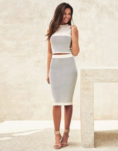 07e50ce58402 Lipsy Love Michelle Keegan Co-ord Knit Crop Top Midi Skirt Outfit