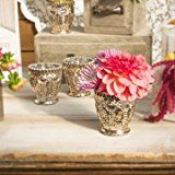 awesome Mercury Glass Tea Mild Candle Holders, three in, Embossed Silver, 6 Pack
