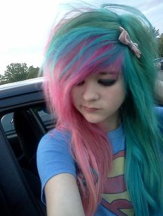 Turquoise and pink cotton candy hair Pelo Emo, Cute Emo Girls, Cute Scene Girls, Cotton Candy Hair, Corset, Emo Scene Hair, Scene Kids, Alternative Hair, Alternative Fashion