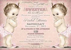 """Twin girls baby shower invitation - """"There's nothing sweeter than two little girls"""""""