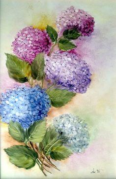 Hydrangea Painting, Acrylic Painting Flowers, Fabric Painting, Watercolor Flowers, Painting & Drawing, Floral Paintings, Watercolor Paintings For Beginners, Ceramic Painting, Flower Art