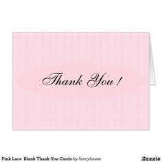 Pink Lace  Blank Thank You Cards