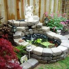 Above ground pond using allan blocks home pinterest for Waterfall design pros and cons