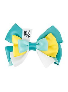 <i>Alice in Wonderland</i> hair clip with Mad Hatter cosplay ribbon bow design.