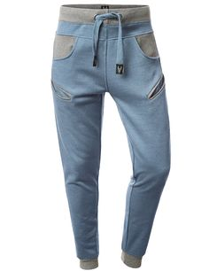 URBANCREWS Mens Hipster Hip Hop Jogger Pants w/ Cell Pockets DENIMBLUE LARGE