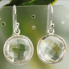 925 Sterling Silver Genuine CRYSTAL QUARTZ Gemstones Trendy Earrings Wholesale #Unbranded #DropDangle
