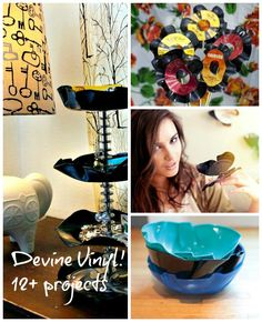 ReFab Diaries: Repurpose: Old records / LPs / Vinyl . No, it's not a DIY, but combine techniques for making vinyl bowls (here and here) and making this vinyl dessert stand and ... hmmmm...