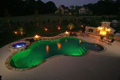 Pool with LED Lighting built by Blue Haven Pools Charlotte.