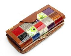 Leather Women Wallets Patchwork Purse Female Clutch