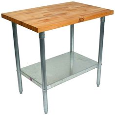 These Kitchen Work Tables with 1-1/2 inch Maple Tops by John Boos are very versatile and can be used in bakeries, restaurants, food service industries, homes etc. They also offer an abundance of accessories including drawers and shelves.