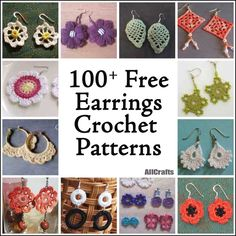 Make yourself something pretty from our new collection of 100 Free Crochet Earrings Patterns. It's great to finish a quick project and use leftover yarn to boot AllCrafts Free Crafts Update – So Many Crafts Over 100 Free Crochet Earring Projects Tutoria Crochet Earrings Pattern, Crochet Jewelry Patterns, Crochet Accessories, Crochet Jewellery, Crochet Necklace, Wire Crochet, Thread Crochet, Crochet Gifts, Pinterest Crochet