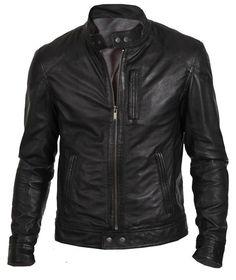 Men s Biker Hunt Black Motorcycle Leather Jacket - Best Deal Offer !!!