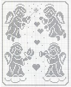 cross stitch, would make a great filet crochet pattern Stitch And Angel, Cross Stitch Angels, Xmas Cross Stitch, Cross Stitch Charts, Cross Stitch Designs, Cross Stitching, Cross Stitch Embroidery, Embroidery Patterns, Cross Stitch Patterns