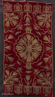 Late-Ottoman yastık (cushion cover). Turkey, 19th century. Metal thread embroidery on silk velvet.