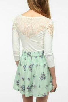 Mint color skirt..