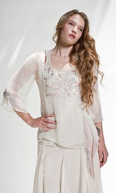 Vintage inspired embroidered top by Nataya/ pair with palazzo pants