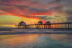 warm sunset from Huntington Beach, California:   Weather Underground - Google+
