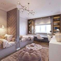 Love this idea for a shared room! By Love this idea for a shared room! Room Design, Interior, Home, Bedroom Design, Kids Shared Bedroom, Interior Design, Kids Interior Design, Bedroom, Dream Rooms