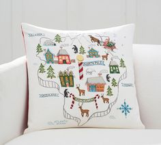 North Pole Map Embroidered Cushion Cover