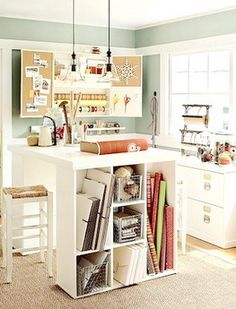 kitchen island with cubbies at the end