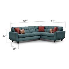Living Room Furniture - West Village 2-Piece Sectional - Blue